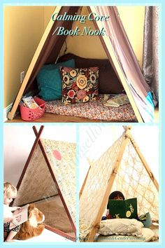 ~Calming Cove/Book Nook~ As Adults we sometimes need to calm down, gather our thoughts or just be still in a quiet place on our own, unwind. It is healthy to learn how to go off and find peace again when over-stimulated or stressed. These little corners are a gentle way to encourage self-soothing or 'centering' so to speak.  Highly recommend this as an alternative to the shaming 'naughty corner' or 'time-out' chair.  It can also be used as a reading nook.