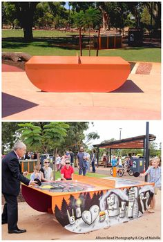 This outdoor ping pong table is free to use for the whole Melville community and doubles as a cool piece of public art. Do you like the plain orange or graffiti design better? Would you like one in Elderslie? #YourParksYourVoice #Elderslie #Camden