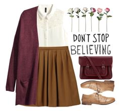 """""""Don't stop believing"""" by tacoxcat ❤ liked on Polyvore featuring H&M, Uniqlo, Marsèll and The Cambridge Satchel Company"""