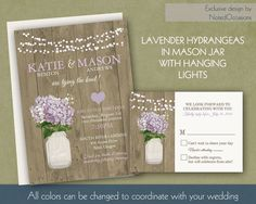 Hydrangea Wedding Invitation with Lavender by NotedOccasions