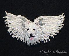 My latest custom order - a beaded American Eskimo Angel dog pin:)
