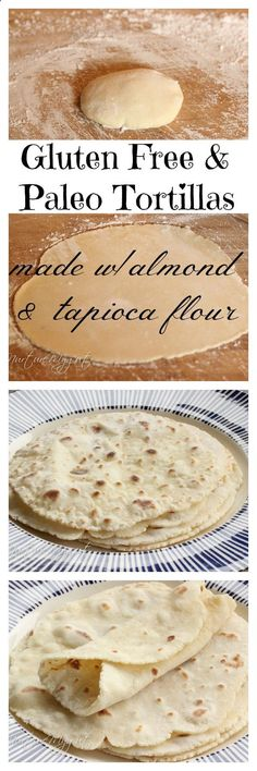 Best Gluten Free  Paleo Tortillas! Made with blanched almond and tapioca flour. No eggs or dairy. Can be made in 20 minutes or less. Dough stores well in the fridge for several days. We made wraps, burritos and this is perfect for scooping up stews! These tortillas are soft, flexible and have a great flavor. My kids like these better than Udis Tortillas. This is the best gluten free tortilla dough ever!