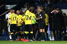 Walter Mazzarri (1st R), Manager of Watford reacts after Roberto Pereyra was sent off during the Premier League match between West Bromwich Albion and Watford at The Hawthorns on December 3, 2016 in West Bromwich, England.
