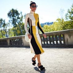 Giovanna Battaglia wearing the Sunbird at Paris Fashion Week. #DITAeyewear #PFW #PFW15 #StreetStyle
