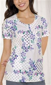 "Dickies Round Neck Top in ""Periwinkles & Polka Dots"" 82789-PWPD This Junior fit round neck top features release pleats at the center front, side angled pockets, side vents, and back elastic for shaping. Center back length: 26 1/2"". $22.50 #scrubs #scrubcouture #nurses"