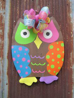 Owl Door Hanger by WiredupbyMellie on Etsy, $40.00