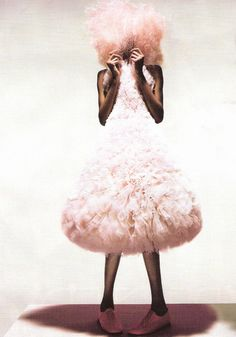 """Jourdan Dunn wears Hussein Chalayan Spring/Summer 2000 in """"Unbelievable Fashion"""" for Vogue UK December 2008 photographed by Nick Knight"""