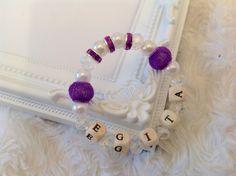 Personalized beaded bracelet, Personalized jewellery, Beaded name bracelet bangle, Personalized bangle, Beaded jewellery purple lilac by AwesomeBabiesShop on Etsy