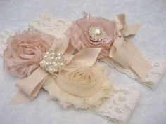 Bridal Garter Heirloom Rose Wedding Garter Set with Toss Garter Heirloom Rose and Tea Stained Ivory with Rhinestones and Pearls. $27.00, via Etsy.