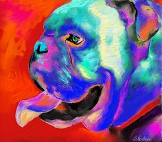 Pop Art Bulldog painting Svetlana Novikova by Svetlana  Novikova
