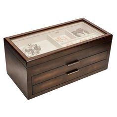 A rich mocha stain and tan suede lining make the Mele & Co. Nova Glass Top Wooden Jewelry Box as handsome as it is handy. A clear glass lid makes it. Jewelry Box With Lock, Glass Jewelry Box, Jewelry Drawer, Jewelry Chest, Jewelry Stand, Diy Wooden Jewelry Box, Wooden Diy, Diy Jewelry, Silver Jewelry