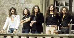 Deep Purple during a photo shoot at Clearwell Castle for their album Burn, 1973
