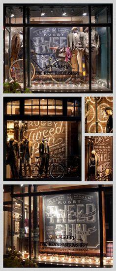 Tweed Run - London. Visual merchandising. Retail store window display. Men's clothing.