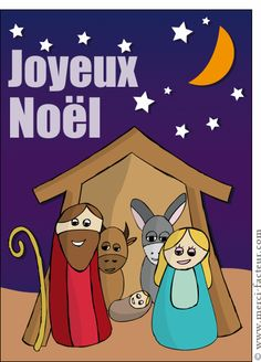 Carte Une petite crèche dessinée pour envoyer par La Poste, sur Merci-Facteur ! #crèche #noël #noël2014 #Christmas #MeryChristmas #navidad #petitJésus #carte #sapin