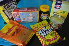 Afrique du Sud ==> France ( *South Africa ===> France)   Thé Rooibos ( Rooibos tea) Biscuits Nik Naks au fromage ( Cheesy Nik Naks biscuits) Granadilla ( grenadelle) ( kind of passion fruit) Marmite ( pate à tartiner / spread) Nouilles 2 min de Heinz ( Heinz 2 minutes noodles) Creme anglaise en poudre ( Powder custard) Epices à Potjiekos ( Potjiekos spices) : Plat national / National dish