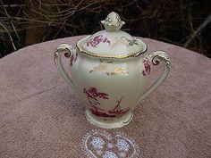 SUCRIER  ANCIEN fine porcelaine LIMOGES  COMTE D' ARTOIS oiseau fleur café tasse