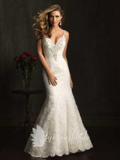 sexy lace spaghetti straps beaded v-neck slim a-line wedding dress