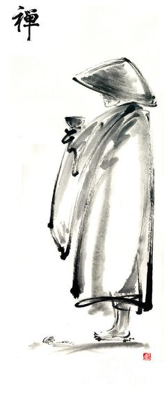 Buddhist Monk With A Bowl Zen Calligraphy Original Ink Painting Artwork Painting by Mariusz Szmerdt
