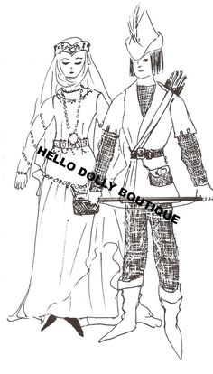 "11 1/2 "" Lady Marian and 12"" Robinhood Clothdoll pattern clothes Barbie/Ken #HelloDollyBoutique"
