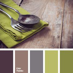 Neutral colors are often used in modern decor. Shades of brown soften and balance olive green and green. Light green and gray nicely complement the color scale of this palette. Olive green color and shades of green are natural colors. This palette suits well the children's room.