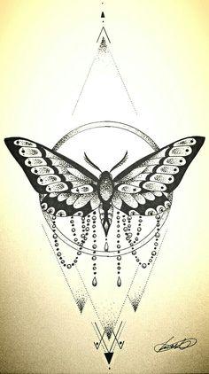 Geometric moth tattoo