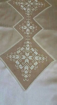 This Pin was discovered by Σοφ Embroidery On Kurtis, Kurti Embroidery Design, Hardanger Embroidery, Embroidery Needles, Hand Embroidery Stitches, Filet Crochet, Crochet Lace, Crochet Tablecloth, Lace Making