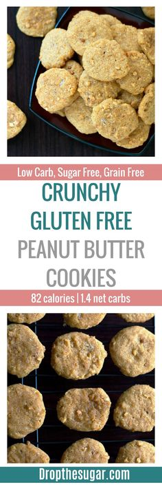 Crunchy Gluten Free Peanut Butter Cookies | a low carb peanut butter cookie recipe that uses crunchy peanut butter and almond flour. It's the perfect amount of salty crunchiness from the peanut butter and a soft texture from the almond flour. If peanut butter cookies were not your thing before, then you have to try these! Pin now to make later!