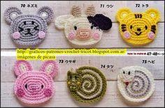 +TEJIDOS+A+CROCHET+-+GANCHILLO++-+PATRONES:+CARITAS+DE+ANIMALES+TEJIDAS+A+CROCHET Crochet Gifts, Crochet Yarn, Easy Crochet, Free Crochet, Crochet Earrings Pattern, Crochet Beanie Pattern, Crochet Hair Clips, Crochet Hair Styles, Purl Bee