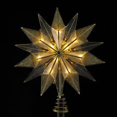 9' Lighted 14 Point Smoked Capiz and Brass Plated Starburst Christmas Tree Topper - Clear Lights -- Sensational bargains just a click away : Christmas Tree Toppers