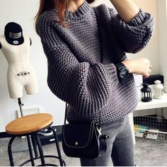 Full Sleeve Knit Oversized Sweater Technics: Knit Collar: O-Neck Sleeve Length…