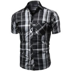 Youstar Men's Casual Short Sleeve Buttondown Checkered Plaid Shirts ($14) ❤ liked on Polyvore featuring men's fashion, men's clothing, men's shirts, men's casual shirts, mens button up shirts, men's short sleeve button up shirts, mens short sleeve button down casual shirts, mens casual short-sleeve button-down shirts and mens checked shirts