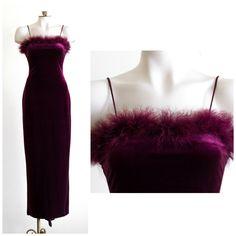 Burgundy full length velvet sheath dress with feather accent by TimeTravelFashions on Etsy