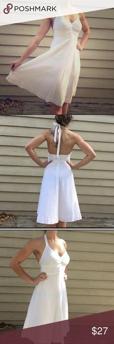 EUC J. Crew White Halter Dress EUC. Only worn two times. Absolutely no stains or visible wear. Lightweight cotton perfect for summer. Two layers of fabric to prevent see through. J. Crew Dresses Midi