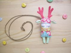 Pink Deer Doll Brooch Necklace Pastel