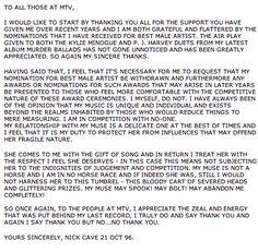 Nick Cave levele az MTV-nek, amiben visszadobja a jelölését