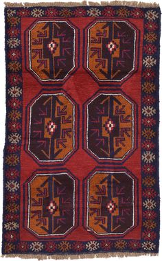 Red 3' x 4' 8 Balouch Persian Rug | Area Rugs | eSaleRugs