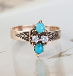 Mid-Victorian Turquoise and Diamond Ring, $695.00