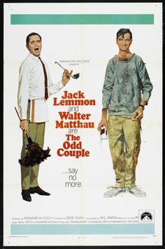 The Odd Couple one sheet movie poster. Art by Robert McGinnis. Walter Matthau. Jack Lemmon