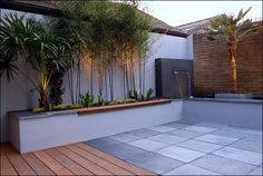 Seamless transition from decking to floor tiles. Nice clean lines. Steep Gardens, Back Gardens, Modern Landscaping, Backyard Landscaping, Casa Clean, Backyard Patio Designs, Terrace Design, Small Garden Design, Diy Pergola