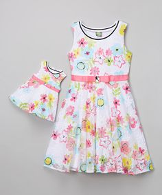White & Pink Flower Dress & Doll Outfit - Girls