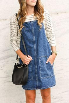How to Style a Pinafore Dress - Twenties Girl Style Pinafore Dress // Denim Dress // Overall Dress // Striped Top