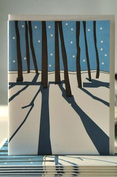 Letterpress trees in the snow