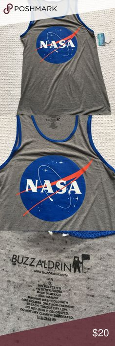 NASA Tank Top Men's Gray New Launch your warm-weather fun when you suit up with this NASA men's tank top.  PRODUCT FEATURES 	•	Crewneck 	•	Sleeveless  FABRIC & CARE 	•	Cotton, polyester 	•	Machine wash 	•	Imported  New with tags. Buzz Aldrin Shirts Tank Tops