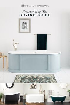 Searching for the perfect freestanding tub to add to your spa-like master suite? With so many styles, sizes, and materials available, we have the guide to make your buying decision easy. Master Bath Remodel, Remodel Bathroom, Master Bathroom, Différents Styles, Cheap Bathrooms, Bathroom Inspiration, Bathroom Ideas, Beautiful Bathrooms, Home Decor Accessories