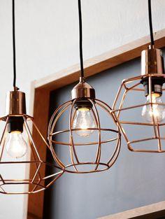 Set koperen hanglampen