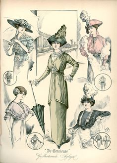 [De Gracieuse] Tailleur-kostuum en verschillende blouses (September 1912)