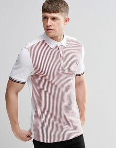 Image 1 of Fred Perry Polo Shirt With Vertical Stripe Slim Fit Sports Polo Shirts, Polo Tees, Golf Shirts, Boys T Shirts, Men's Polo, Polo Shirt Style, Polo Shirt Design, Fred Perry Polo Shirts, Polo Outfit
