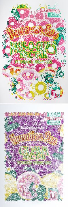 Jared Yamanuha. The labels of famous Hawaiian brands, cut meticulously into colorful, paper lace.