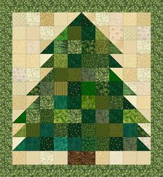 Explore a selection of free wallhanging patterns when you'd like to decorate a room with a small quilt or two, or make a quick gift for someone special.: Christmas Tree Quilt Pattern: Rag Quilt & Non-Rag Miniature Quilt Rag Quilt Patterns, Beginner Quilt Patterns, Pattern Blocks, Beginners Quilt, Quilting Ideas, Quilting Designs, Christmas Tree Quilt Pattern, Christmas Quilting, Christmas Patchwork