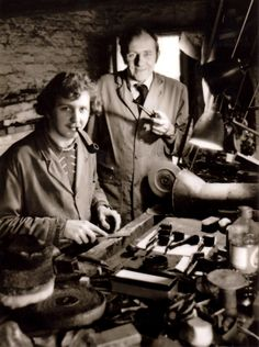 Master craftsmen and pipemakers Ian and Peter Walker, of Northern Briars, at their Altrincham Workshop in 1977.
